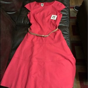 NWTS ANNE KLEIN Belted Pink Dress size 6